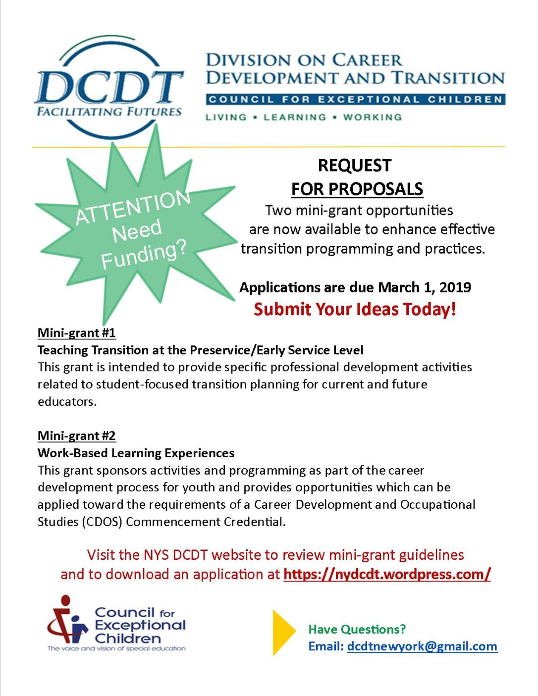 2019 NYS DCDT Mini-grants Announcement flyer